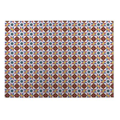 Diamond Tiles Indoor/Outdoor Doormat Color: Red/ Gold/ Blue