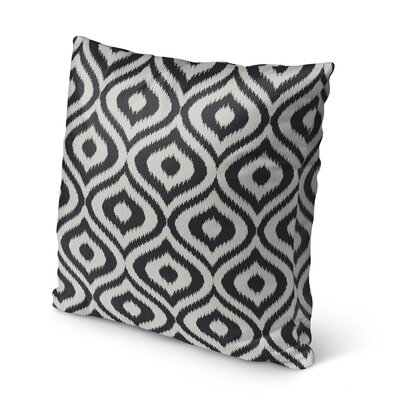 Ikat Ogee Burlap Indoor/Outdoor Pillow Size: 16 H x 16 W x 5 D, Color: Black/ Ivory