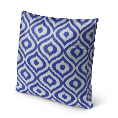 Ikat Ogee Burlap Indoor/Outdoor Pillow Size: 16 H x 16 W x 5 D, Color: Blue/ Ivory