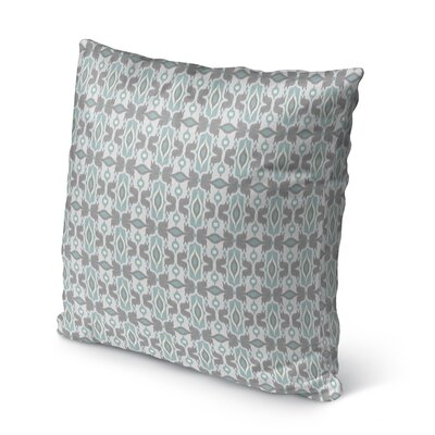 Cosmos Burlap Indoor/Outdoor Throw Pillow Size: 16 H x 16 W x 5 D, Color: Ivory/ Turquoise/ Grey