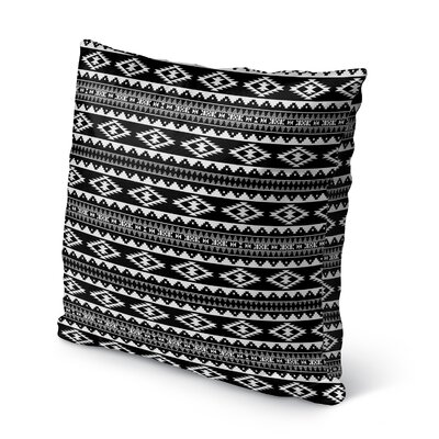 Cherokee Burlap Indoor/Outdoor Throw Pillow Size: 18 H x 18 W x 5 D, Color: Black/ White
