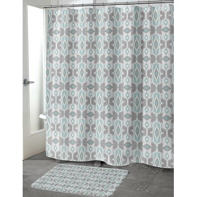 Cosmos Shower Curtain Color: Ivory/ Turquoise/ Grey