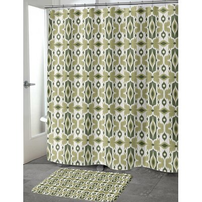 Cosmos Shower Curtain Color: Green/ Ivory