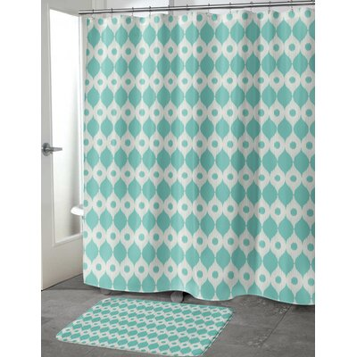 Forrest Rain Shower Curtain Color: Blue/ Ivory