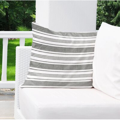 Sagamore Burlap Indoor/Outdoor Pillow Size: 16 H x 16 W x 5 D, Color: Dark Grey/ White