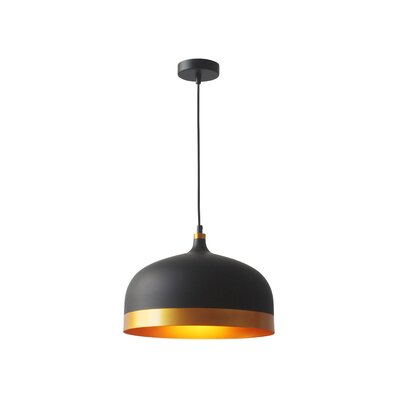 Melaina 1-Light Bowl Pendant Finish: Black/Gold
