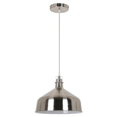 Banbury 1-Light Bowl Pendant Shade color: Satin Nickel