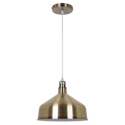 Banbury 1-Light Bowl Pendant Shade color: Satin Brass
