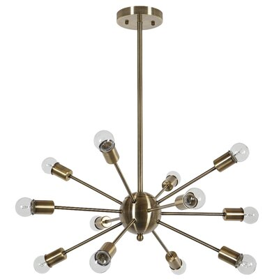 Vroman 12-Light LED Sputnik Chandelier Finish: Brass