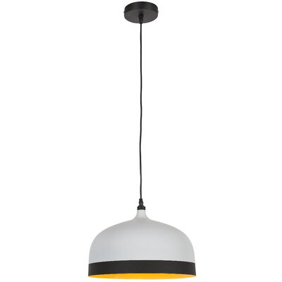 Melaina 1-Light Bowl Pendant Finish: White/Black