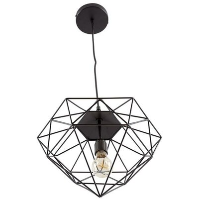 Diego 1-Light Foyer/Lantern Pendant Shade Color: Black