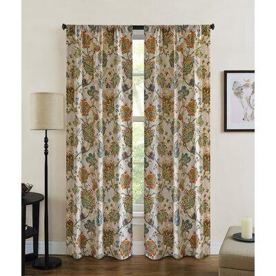 Baumgarten Nature/Floral Semi-Sheer Rod Pocket Curtain Panels Size: 63