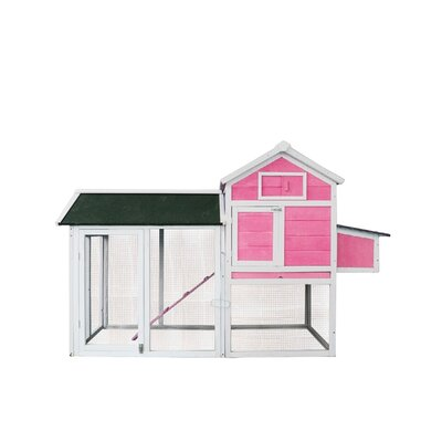 Barney Hen House Pet Cage Chicken Coop with Roosting Bar Color: Pink