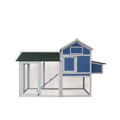 Hen House Pet Cage Chicken Coop with Roosting Bar Color: Blue