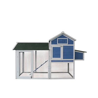 Barney Hen House Pet Cage Chicken Coop with Roosting Bar Color: Blue