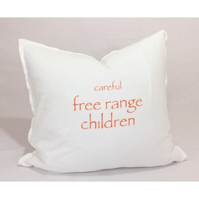 Careful Free Range Children Throw Pillow