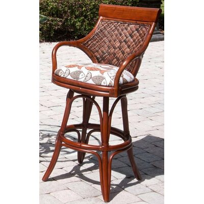 Bermuda 24 Swivel Bar Stool Seat Color: Palms Pineapple