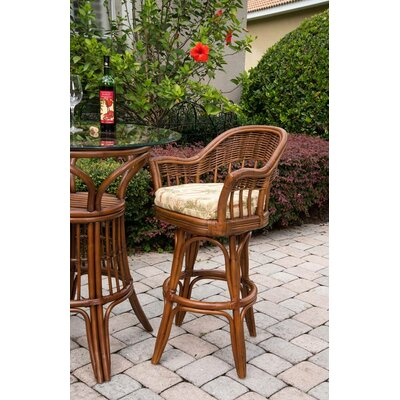 Moonsu Traditional 30 Swivel Bar Stool Color: Sienna, Upholstery: Palms Pineapple