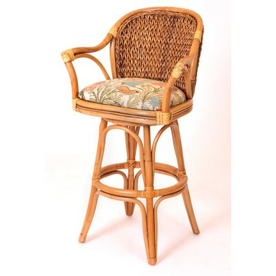 Panama 24 Swivel Bar Stool Finish: Antique Honey, Seat Color: Dum Dum Spa