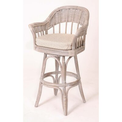 Bridgeport 30 inch Swivel Bar Stool Finish: Rustic Driftwood, Upholstery: Palms Pineapple