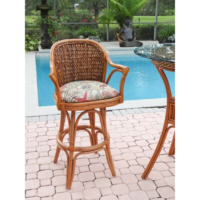 Panama 30 Swivel Bar Stool Finish: Antique Honey, Seat Color: Palms Pineapple