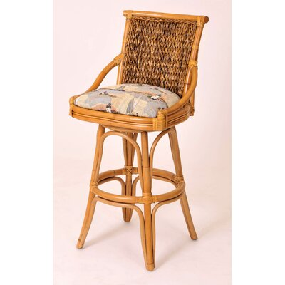 Balboa 30 Swivel Bar Stool Finish: Antique Honey, Seat Color: Dum Dum Natural
