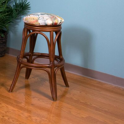 Universal 24 Swivel Bar Stool Finish: Sienna, Seat Color: Palms Pineapple