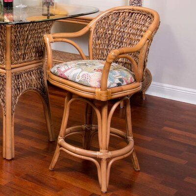 Panama 30 Swivel Bar Stool Finish: Antique Honey, Seat Color: Escapade Sand