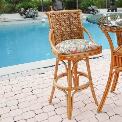 Balboa 24 Swivel Bar Stool Finish: Sienna, Seat Color: Palms Pineapple