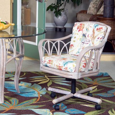 Cuba Tilt Swivel Caster Arm Chair Upholstery: Submarino Tropical