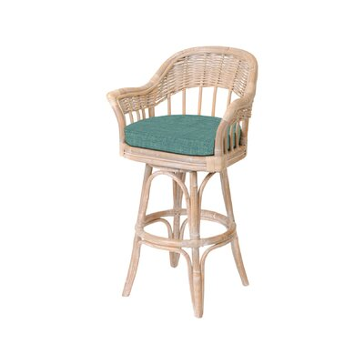Moonsu 24 Low Back Swivel Bar Stool Finish: Rustic Driftwood, Seat Color: Palms Pineapple