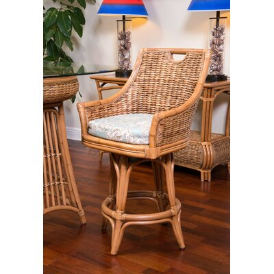 Brisa 24 Swivel Bar Stool Color: Antique Honey, Upholstery: Palms Pineapple