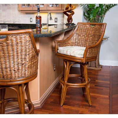 Brisa 30 inch Swivel Bar Stool Finish: Antique Honey, Upholstery: Ocean View