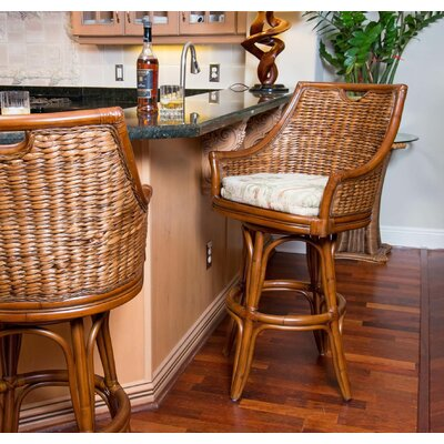 Brisa 30 Swivel Bar Stool Color: Antique Honey, Upholstery: Tuvalu Sunset