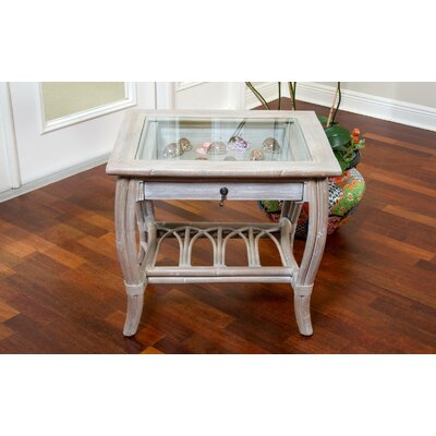 Ram Glass Top End Table with Drawer
