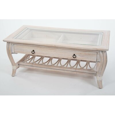 Ram Glass Top Coffee Table with Drawer