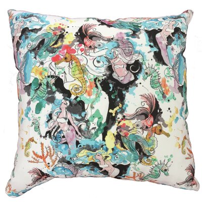 Mermaid Bliss Throw Pillow Size: 17.5 H x 17.5 W