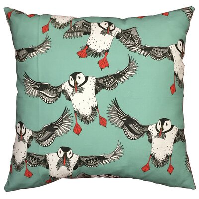 Puffins Throw Pillow Size: 17.5 H x 17.5 W, Color: Green