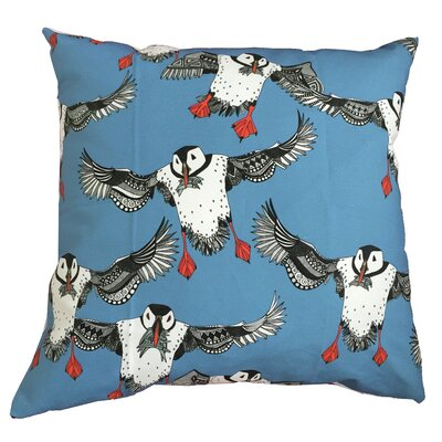 Puffins Throw Pillow Size: 19.5 H x 19.5 W, Color: Blue