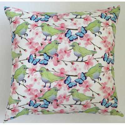 Bird Garden Throw Pillow Size: 17.5 H x 17.5 W