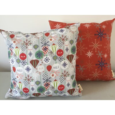2 Piece Christmas Ornament Throw Pillow Set