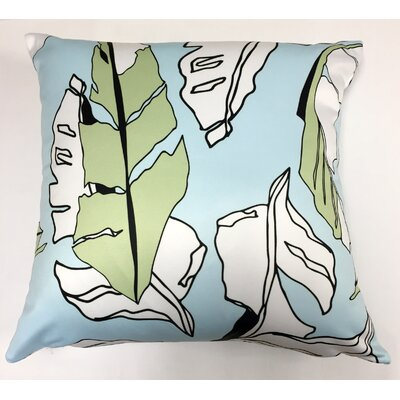 Banana Leaf Throw Pillow Color: Blue