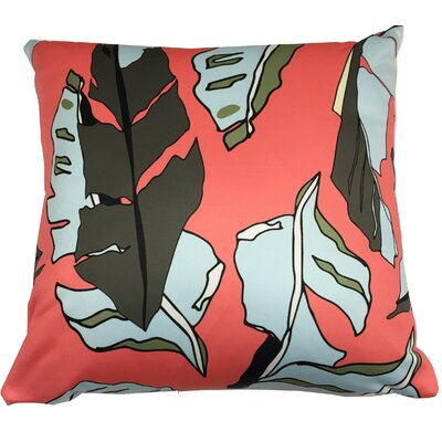 Banana Leaf Throw Pillow Color: Salmon