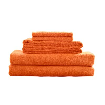 Bamboo Rayon Fiber 6 Piece Towel Set Color: Orange