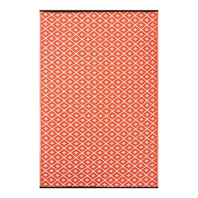 Arabian Nights Orange/White Indoor/Outdoor Area Rug Rug Size: 6 x 9