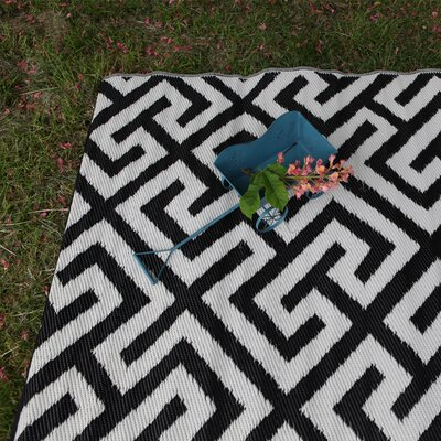 Black/White Indoor/Outdoor Area Rug Rug Size: 5 x 8