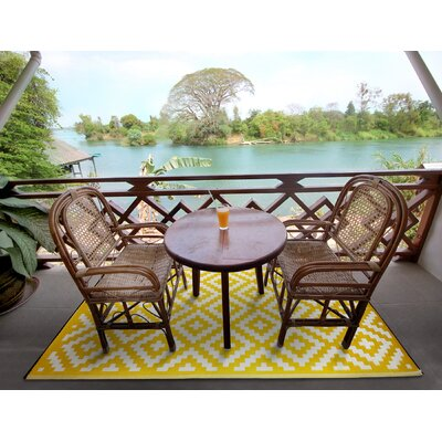 Nirvana Yellow/White Indoor/Outdoor Area Rug Rug Size: 3 x 5