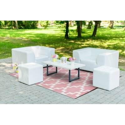 Solitude Pink/White Indoor/Outdoor Area Rug Rug Size: 5 x 8