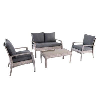 Montes 4 Piece Rattan Conversation Set with Cushions