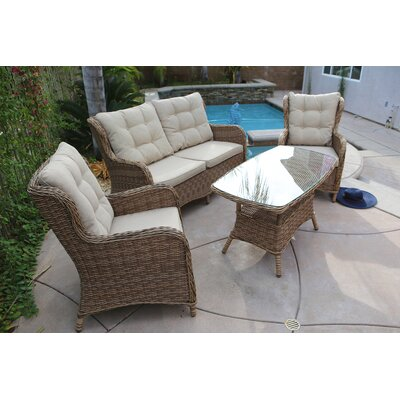 Trappe 4 Piece Wicker Sofa Set with Cushions